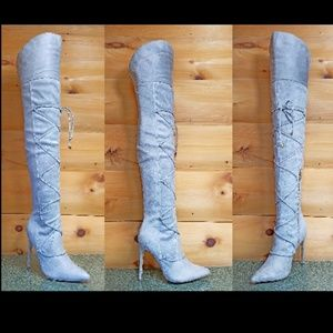 "Light Gray OTK Thigh High Boots 4"" Stiletto Heels"